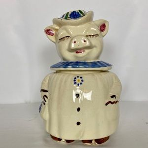 Vntg Shawnee Winnie Pig Cookie Jar Blue Collar